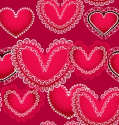 Valentine red hearts seamless background vector image