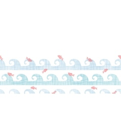 Abstract textile fish among waves horizontal vector image
