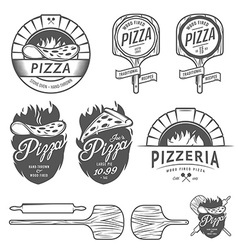 Vintage pizzeria labels badges design elements vector image