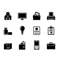 Silhouette business and office equipment icons vector