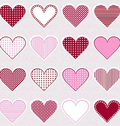 Love background with heart frames on pink pattern vector image