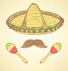 Sketch cinco de mayo banner in vintage style vector