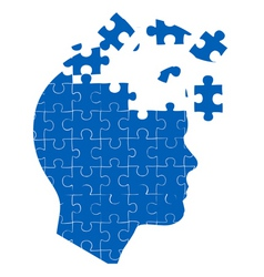 Mans mind with jigsaw puzzle vector