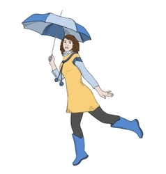 Girl with umbrella jumping vector