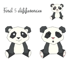 Find differences kids layout for game panda bear vector