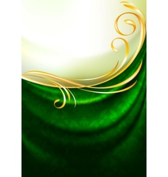 Green fabric curtain vector
