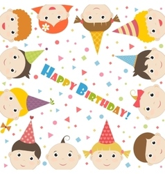 Birthday card with children vector