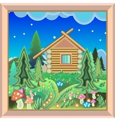 Country house in the magic forest picture in the vector