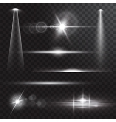 Realistic beam lights on transparent background vector