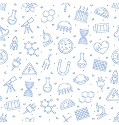 Science research pattern blue icons vector