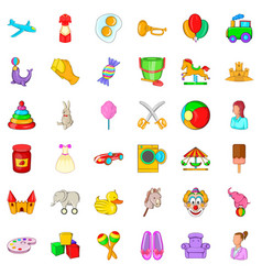 Baby toy icons set cartoon style vector
