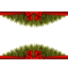 Background with christmas tree branches and a red vector
