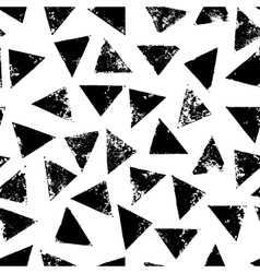 Black and white grunge print triangles geometric vector