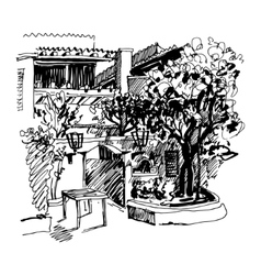 black and white sketch drawing of Slovenska Plaza vector image