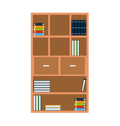 Bookshelf books encyclopedia furniture wooden vector