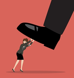 Business woman pushing big foot vector