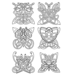 Butterfly insect tribal celtic ornaments vector