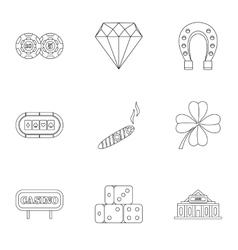 Casino game icons set outline style vector