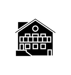 Chalet icon black sign on vector