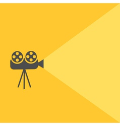 Cinema projector with light flat design vector