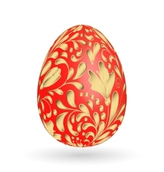 Colorful easter red egg with ornate doodle floral vector image vector image