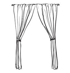 Curtains sketch hand drawn interior vector