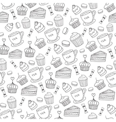 Doodle BakeryCakes and dessert tea vector image vector image
