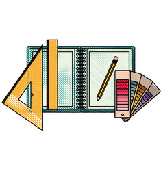 drawing tools and notebook in colored crayon vector image