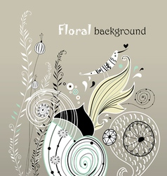 floral background with love bird vector image