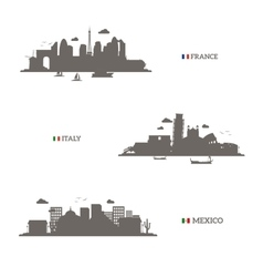 France italy and mexico skyline silhouettes vector