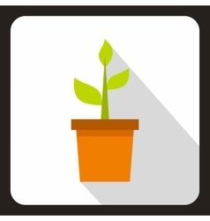 Green plant in a pot icon flat style vector image