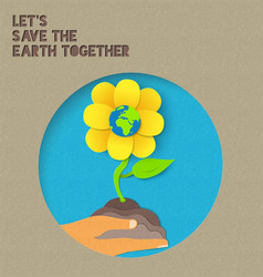 Happy earth day paper nature quote vector