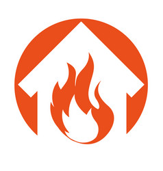House fire insurance icon vector