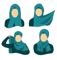 How to wear the muslim hijab vector