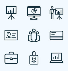 job outline icons set collection of briefcase vector image vector image