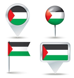 Map pins with flag of Gaza Strip vector image