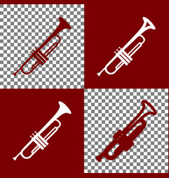 musical instrument trumpet sign bordo and vector image