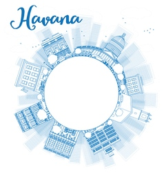 Outline Havana Skyline with blue Building vector image
