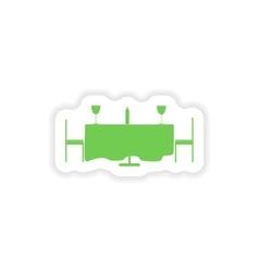 Paper sticker on white background romantic dinner vector