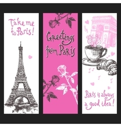 Paris Vertical Banner Set vector image