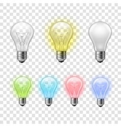 Rainbow transparent light bulbs set background vector
