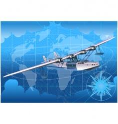 retro seaplane 30-s vector image vector image