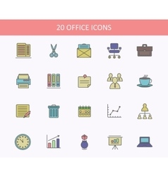 Set of office icons for web or ui design sheets vector