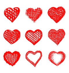 sketch of hand drawn hearts set vector image vector image