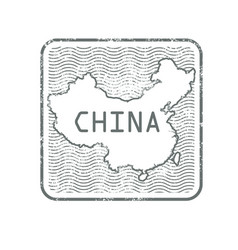 stamps with contour of map of china vector image vector image