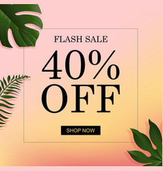 Summer banner with tropical leaf vector