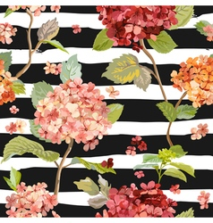 Vintage flowers - floral hortensia background vector