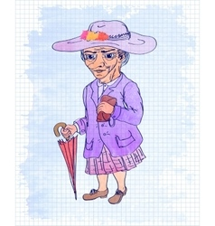 Watercolor of an old woman vector image vector image