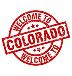 Welcome to colorado red stamp vector