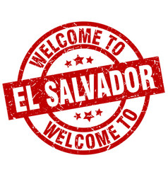 Welcome to el salvador red stamp vector